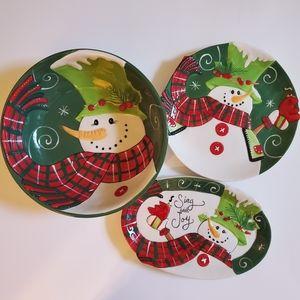 NWT Fitz and Floyd Holly Hat Snowman Christmas Set